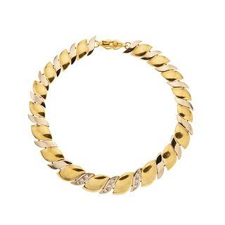 DIAMOND WRISTBAND. 18K YELLOW AND WHITE GOLD