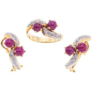 RING AND EARRINGS SET WITH RUBIES AND DIAMONDS. 14K YELLOW GOLD