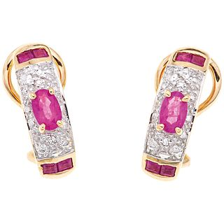 RUBIES AND DIAMONDS EARRINGS. 14K YELLOW GOLD