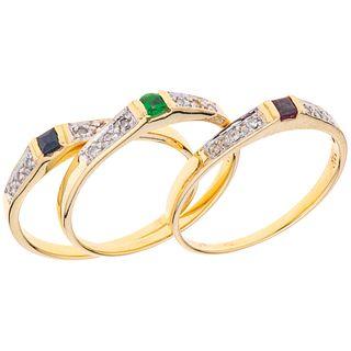 THREE RINGS WITH RUBI, SAPPHIRE, EMERALD AND DIAMONDS. 14K YELLOW GOLD