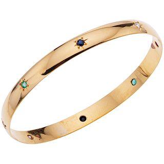 SAPPHIRE, EMERALD, RUBIES Y DIAMOND BRACELET. 18K YELLOW GOLD