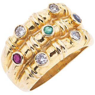EMERALD, SAPPHIRE, RUBY AND DIAMONDS RING. 14K YELLOW GOLD