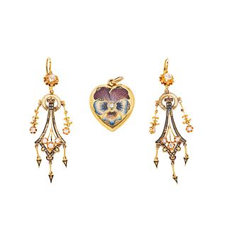 PENDANT / PICTURE-FRAME AND EARRINGS WITH DIAMONDS AND ENAMEL. 10K YELLOW AND PINK GOLD