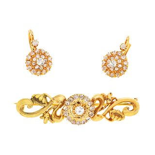 BROOCH AND EARRINGS WITH DIAMONDS. 18K AND 14K YELLOW AND PINK GOLD