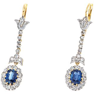 SAPPHIRES AND DIAMONDS EARRINGS. 18K YELLOW GOLD