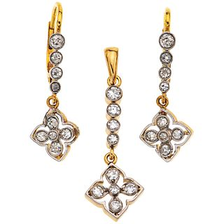 PENDANT AND EARRINGS SET WITH DIAMONDS. 18K YELLOW GOLD