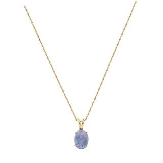 NECKLACE AND PENDANT WITH TANZANITE. 14K YELLOW GOLD