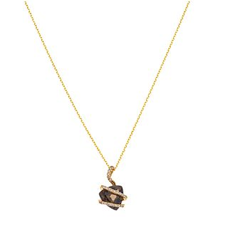 NECKLACE AND PENDANT WITH QUARTZ AND DIAMONDS. 14K YELLOW GOLD