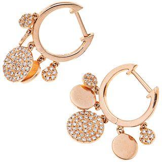 DIAMONDS EARRINGS. 14K PINK GOLD