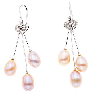 CULTURED PEARLS AND DIAMONDS EARRINGS. 14K WHITE GOLD