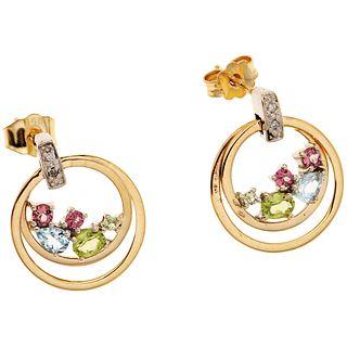 EARRINGS WITH PERIDOTS, AQUAMARINES, TURMALINES AND DIAMONDS. 14K YELLOW GOLD