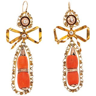 CORALS AND CULTURED PEARLS EARRINGS. 8K PINK GOLD