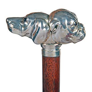Two Dog Silver Cane
