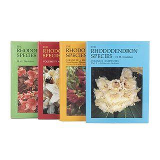 Davidian, H. H. The Rhododendron Species. Portland, Oregon: Timber Press, 1982, 1989, 1992, 1995. Lepidotes & Azaleas. Pieces: 4.