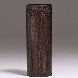 """Roycroft Hammered Copper 7""""h Cylinder Vase"""