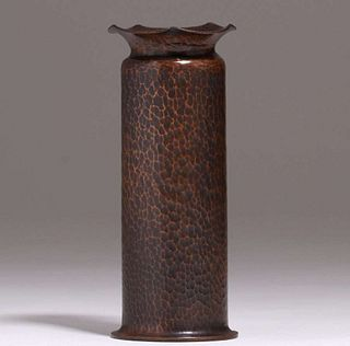 Albert Berry Hammered Copper Cylinder Vase c1920s
