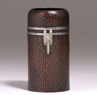 Roycroft Hammered Copper & Silver Cylinder Vase