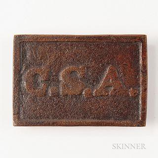 "Confederate Rectangular ""CSA"" Belt Plate"