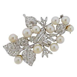 Seaman Schepps Platinum Diamond Pearl Brooch Pin