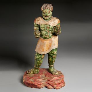 Large Japanese carved Oni figure, ex Komor