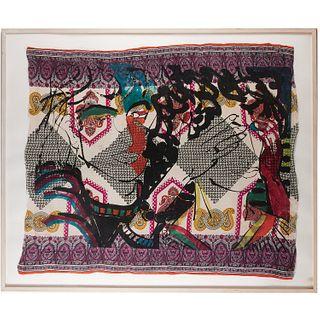 Robert Kushner, oversize aquatint on fabric