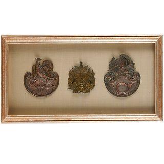 (3) French military shako plaques, 19th c.