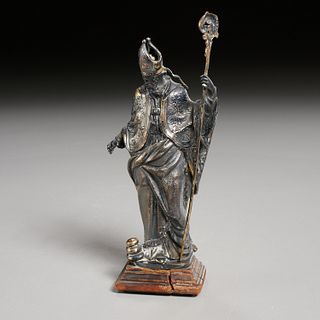 Continental silvered metal Saint or Pope