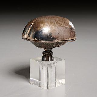 Tibetan silver Kapala skull cup
