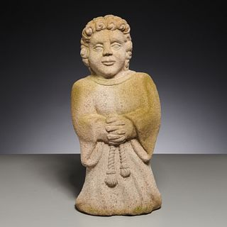 Antique Continental carved stone angel