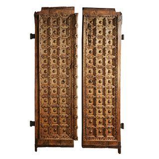 Huge pair antique iron-mounted doors