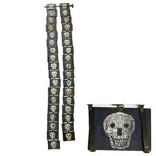 War related Folk Art skull painted Jacob's Ladder