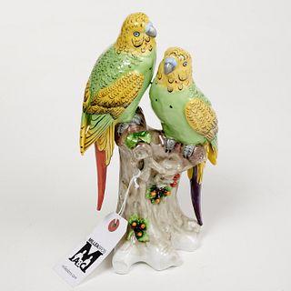 Sitzendorf porcelain parakeets figural group
