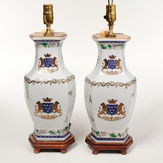 Pair Armorial style porcelain vase lamps
