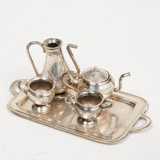 Miniature sterling dollhouse tea set