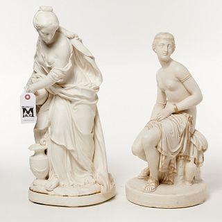 (2) Copeland parcel gilt parian porcelain figures