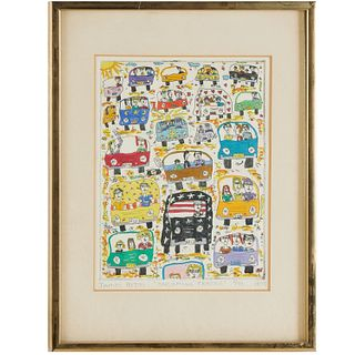 James Rizzi, etching with color