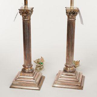 Pair silver plated Corinthian column lamps