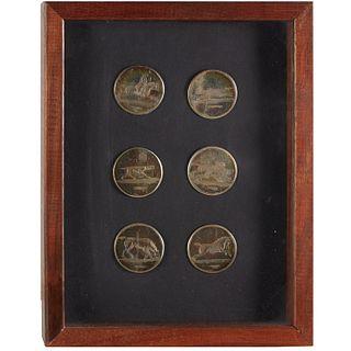 (6) George III Irish silver fox hunt buttons