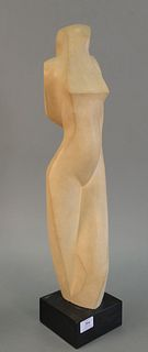 "After Alexander Archipenko Femme, nude figure, marble on stone, unsigned, 27"" h."