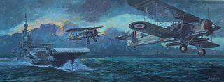 "Brian Sanders (B. 1937) """"HMS Illustrious"""