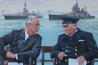 """Brian Sanders (B. 1937) """"Roosevelt & Churchill"""""""