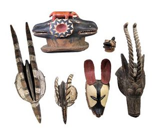 Collection of African Bobo Tribe Wood Masks