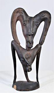 African Maasai Tribe Carved Mahogany Sculpture
