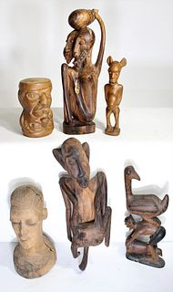 Group of Six (6) Carved African figures