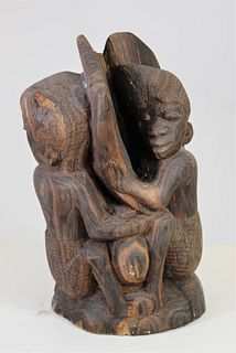 African Hand Carved Sculpture of Sleeping Figures