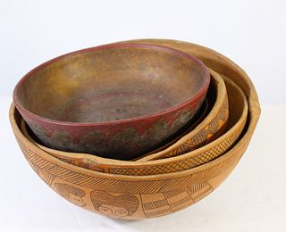 Group of African Hand Carved Wooden Bowls