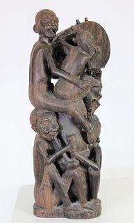 Mahogany Carved Kenyan Maasai Tribe Sculpture