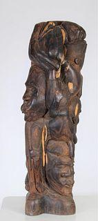 Kenyan Maasai People Carved Mahogany Sculpture