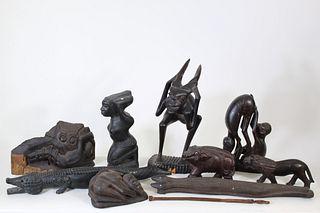 Collection of (10) Mahogany Kenyan Maasai Figures