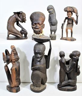 Collection of (7) Maasai Wood Carved Figures